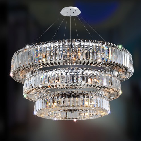 3 Tier Crystal Transitional Chandelier